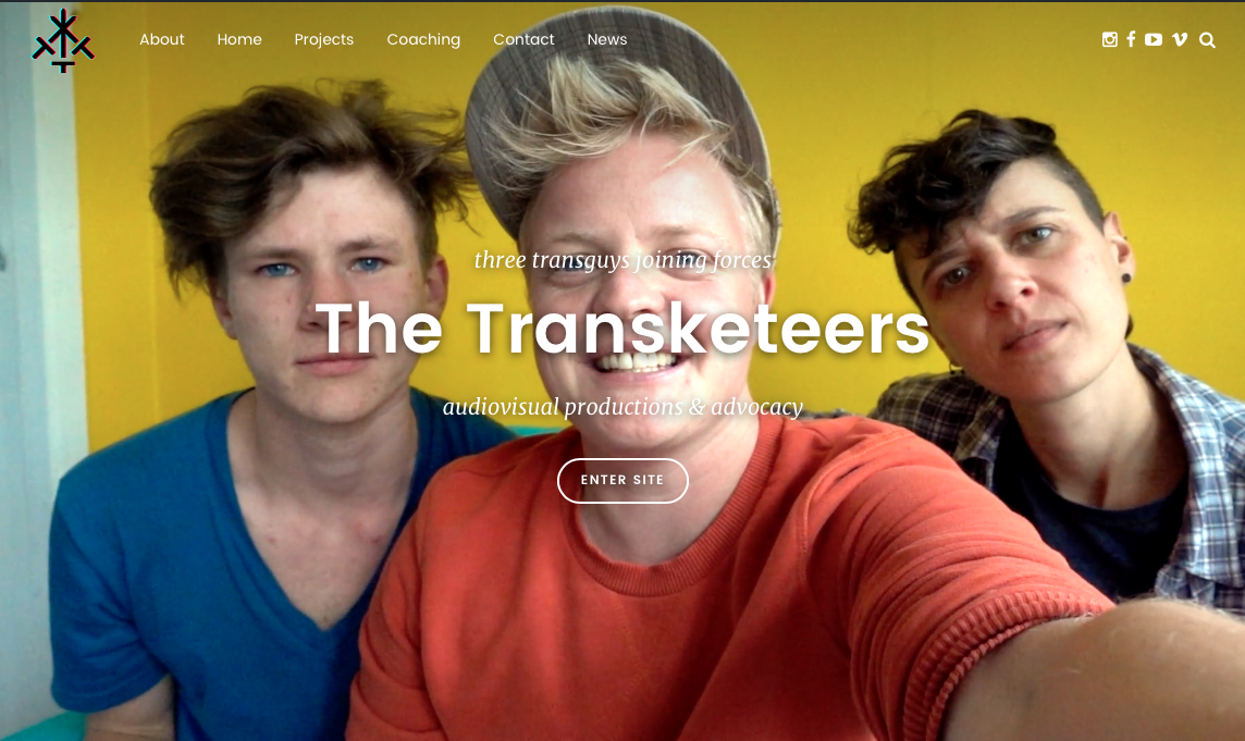 Transketeers website home beginscherm screenshot